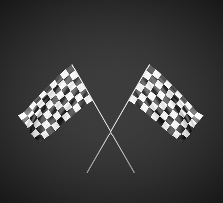 Two Checker Flags Crossed Isolated on a White Background photo