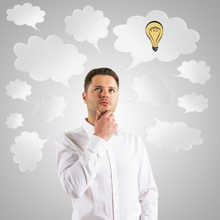 businessman  thinking with speech bubble over head
