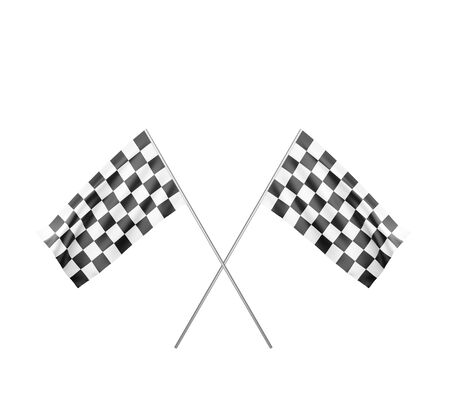 checker: Two Checker Flags Crossed Isolated on a black Background Stock Photo