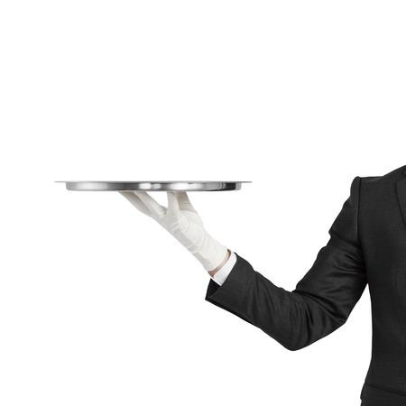 hand met zilver plaat geïsoleerd op een witte achtergrond Stockfoto
