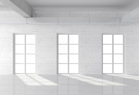 wall: white brick loft with window