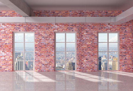 city living: red brick loft interior  with window to city Stock Photo