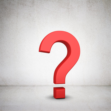 red question mark symbol  on a white background photo