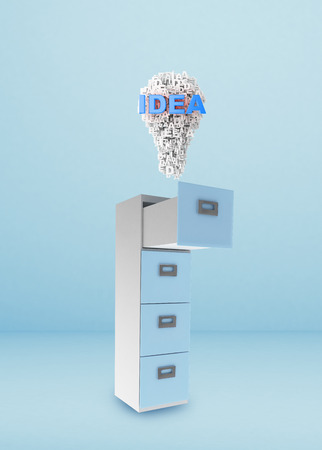 File cabinet and documents with idea concept photo
