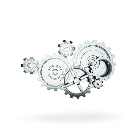 rack wheel: metal gears and cogwheels on gray background Stock Photo