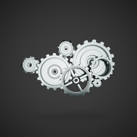 rack wheel: metal gears and cogwheels on black  background