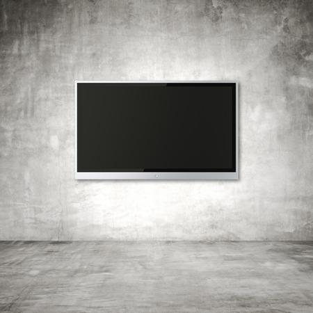 blank wide screen TV on wall in room