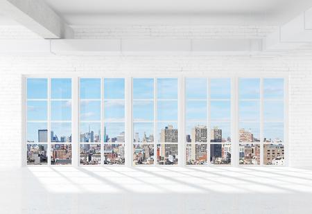 white loft with window to city photo
