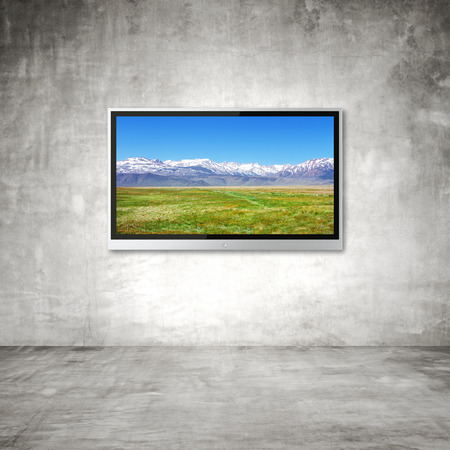lcd tv: wide screen TV with mountain  on wall in room Stock Photo