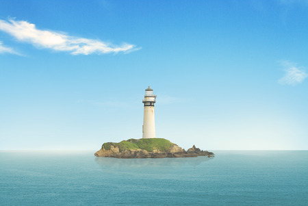 tybee island: lighthouse searchlight beam through marine air at day Stock Photo
