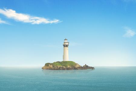 illuminative: lighthouse searchlight beam through marine air at day Stock Photo