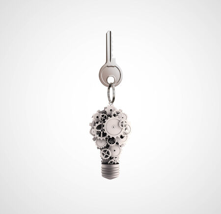 key fob: key fob with a lamp of gears on white background
