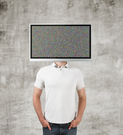 boy with TV instead of head, close up photo
