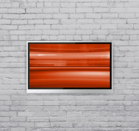 flat screen tv: wide screen TV on wall  with Abstract red cubes Stock Photo