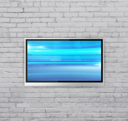 抽象的なブルー キューブでレンガの壁にテレビをワイド スクリーンします。
