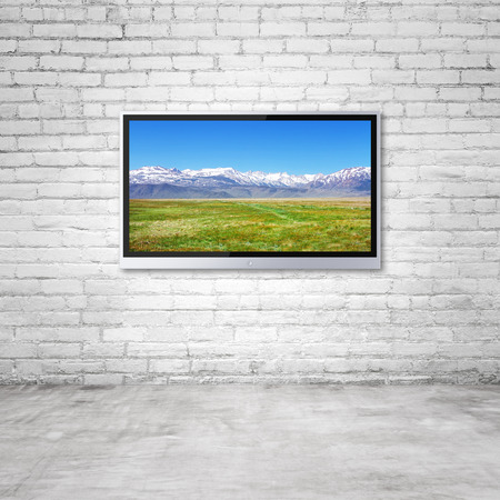 wide screen TV with mountain  on wall in room photo