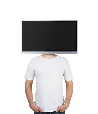 boy with TV instead of head on a black background photo