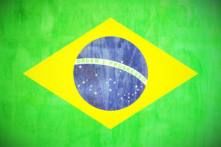 brazil flag painted in grunge style texture photo