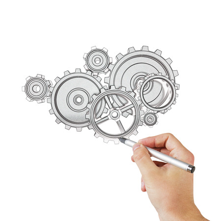 hand drawing gears and cogwheels photo