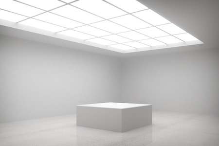 abstract white interior with stand photo