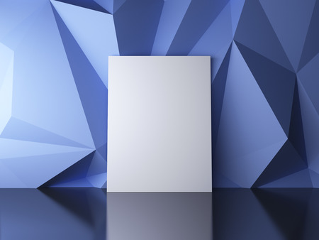 amaged: blank poster in a blue abstract background Stock Photo