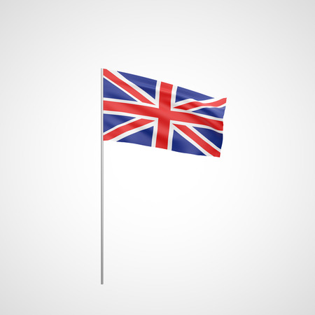 Flag of United Kingdom with flag pole waving in wind on white background photo