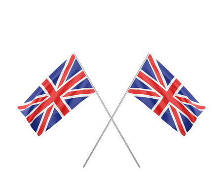 two crossed  Flag of  United Kingdom  with flag pole waving in wind photo