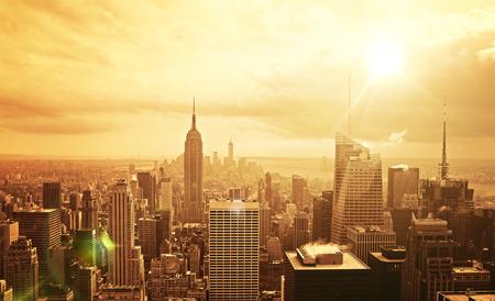 beautiful view of Manhattan skyline at sunset photo