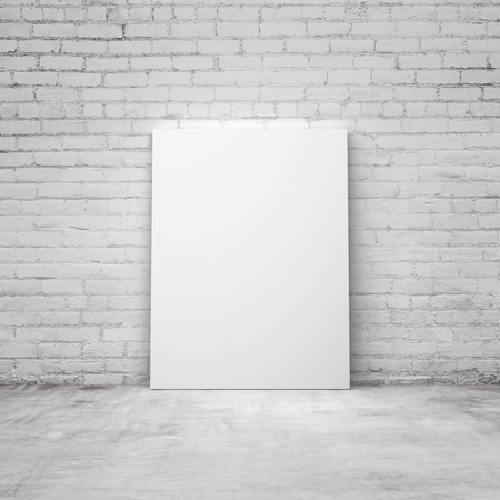 amaged: blank placard in a brick room