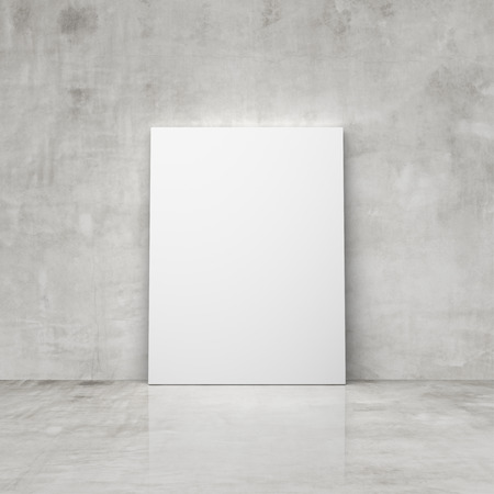 amaged: blank placard in a concrete room Stock Photo