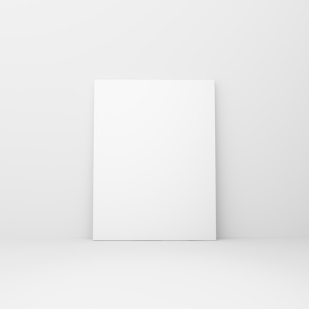 amaged: blank poster in a white room Stock Photo
