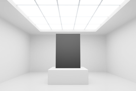 abstract white interior with stand and black paper photo