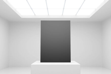 white interior with stand and blank paper photo