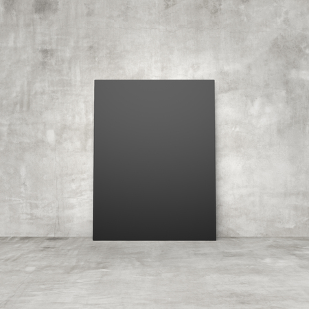amaged: blank black paper in a concrete room Stock Photo