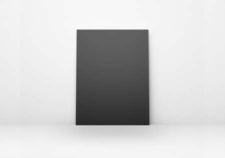 amaged: blank black poster in a concrete interiror Stock Photo