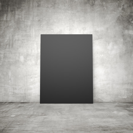 amaged: blank black placard in a concrete room Stock Photo