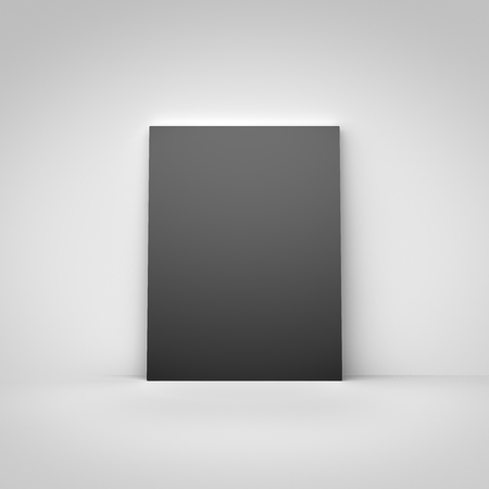amaged: blank black poster in a concrete room