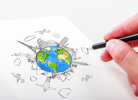 hand drawning travel landmarks in a notepad Stock Photo