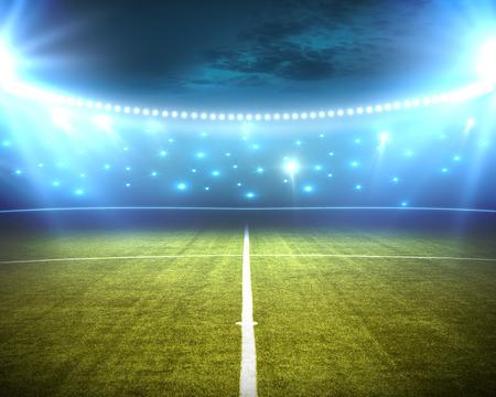 groene stadion arena met schijnwerpers Stockfoto
