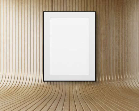 amaged: blank frame hanging on wooden the wall