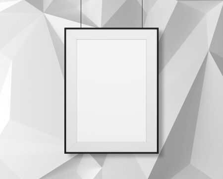 amaged: blank frame hanging on abstract the wall