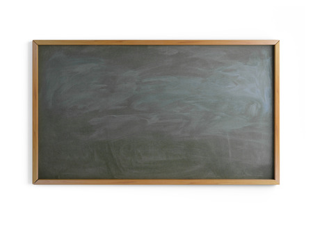 Black chalk board with wooden frame on wall