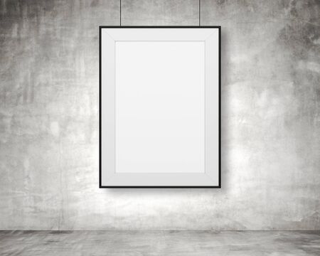 amaged: blank frame hanging on wall in room
