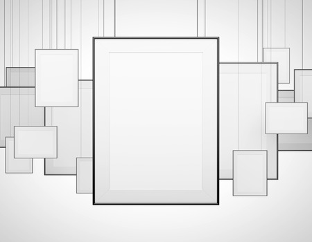 amaged: many blank poster hanging on a gray background Stock Photo