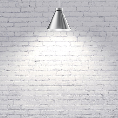 ceiling texture: white brick wall with ceiling lamp Stock Photo