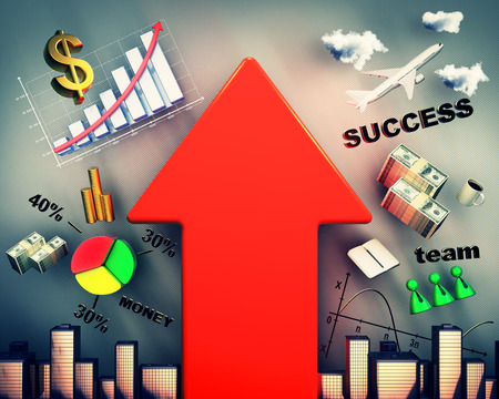 stock predictions: business strategy with big red arrow, interaction of money and success