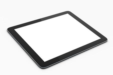 デジタル タブレットのモックアップ、白地に