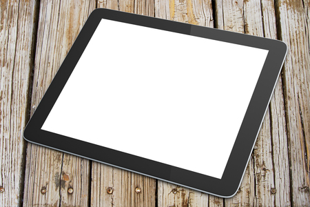 blank tablet: Blank digital tablet on a wooden table Stock Photo