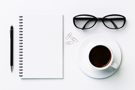 mockup: white blank diary and coffee cup, mock up Stock Photo
