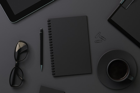 mockup: Blank black diary and accessories